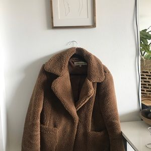 Sebby Collection Collared Teddy Fur Coat